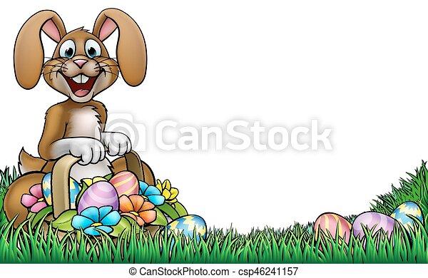 easter bunny egg hunt background csp46241157
