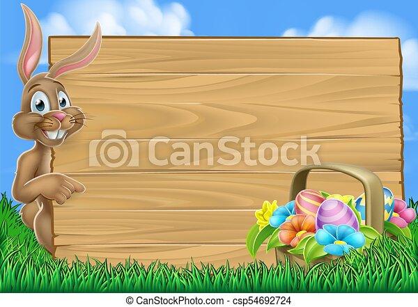 easter bunny egg hunt background csp54692724