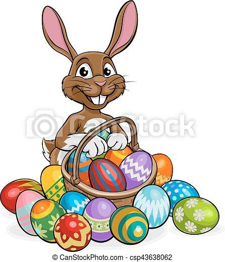 easter bunny egg hunt cartoon bunny on an easter egg hunt clip rh canstockphoto co uk easter egg hunt clip art free easter egg hunt invitation clipart