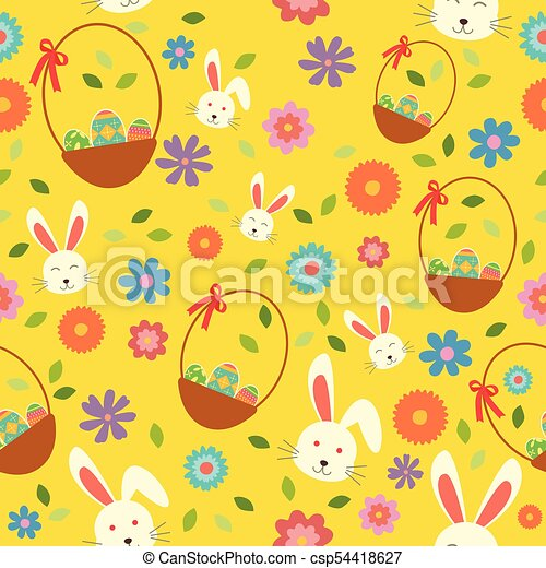 Easter Bunny Eggs and Spring Wallpaper Seamless Pattern Background - csp54418627