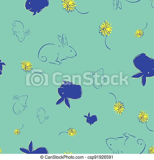 Easter Bunny Flower Seamless Pattern - csp91926591