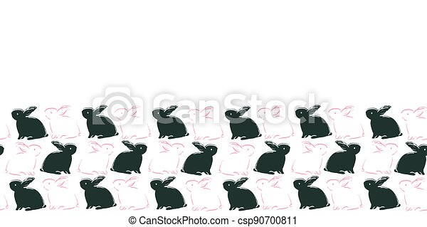 Easter Bunny Frame Border Seamless Pattern - csp90700811