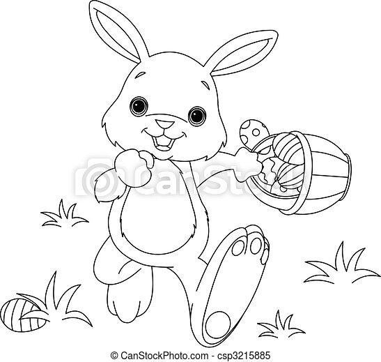 Easter Bunny Hiding Eggs coloring page - csp3215885