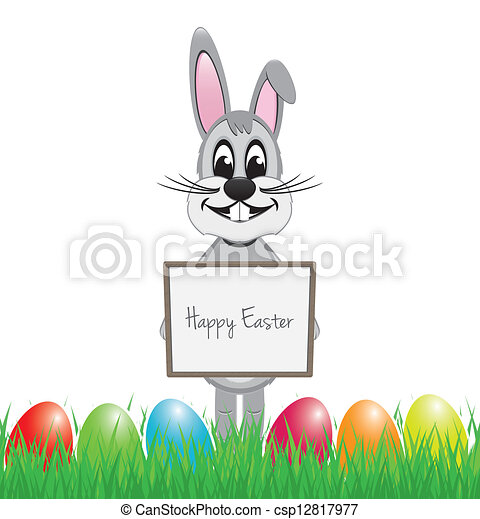 easter bunny hold signboard - csp12817977