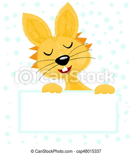 Easter Bunny Isolated on White Background with copy space. - csp48015337