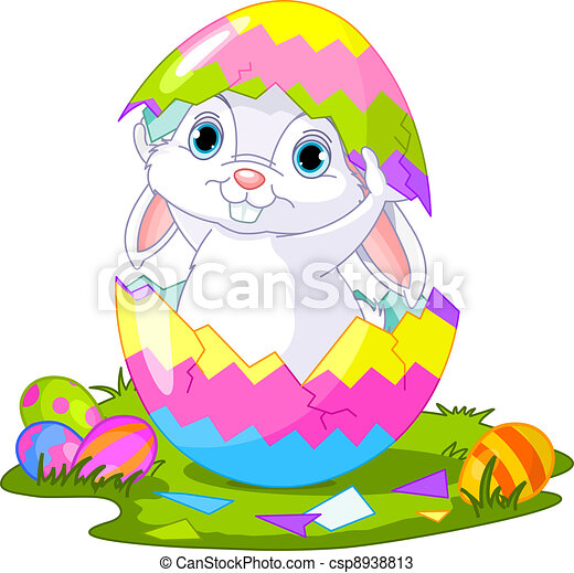 Easter. Bunny jumping out from  eg - csp8938813