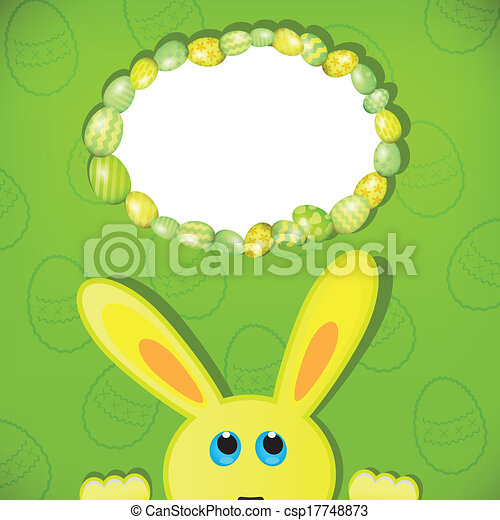 Easter bunny look up in blank space. Easter background. - csp17748873