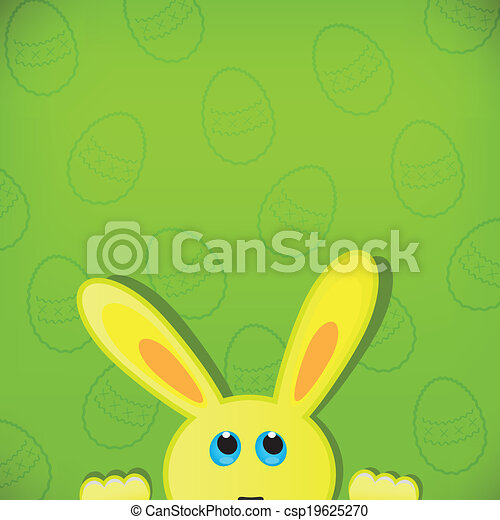 Easter bunny look up in blank space. Easter background. - csp19625270