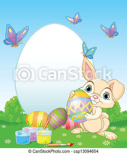 Easter Bunny painting Easter Eggs - csp13094654