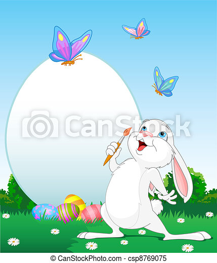 Easter Bunny painting Easter Eggs - csp8769075