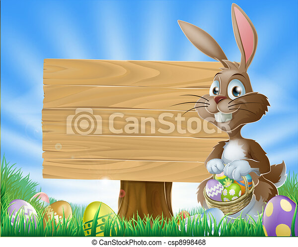 Easter bunny rabbit background - csp8998468