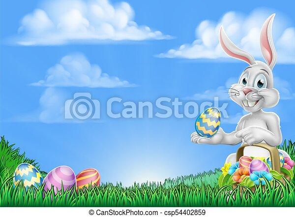 easter bunny rabbit egg hunt background csp54402859