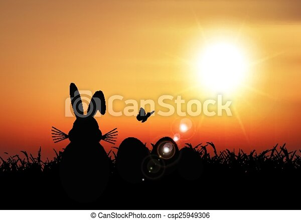Easter bunny sat in grass against a sunset sky - csp25949306