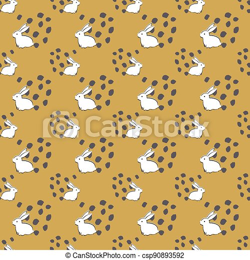 Easter Bunny Seamless Pattern - csp90893592