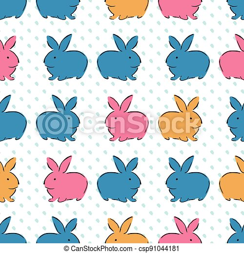 Easter Bunny Seamless Pattern - csp91044181