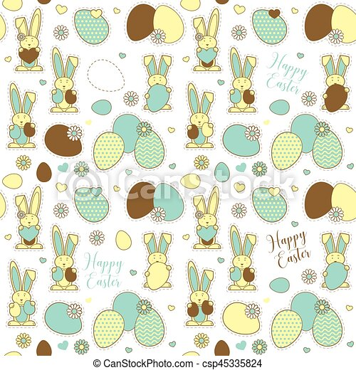 Easter bunny seamless pattern. - csp45335824