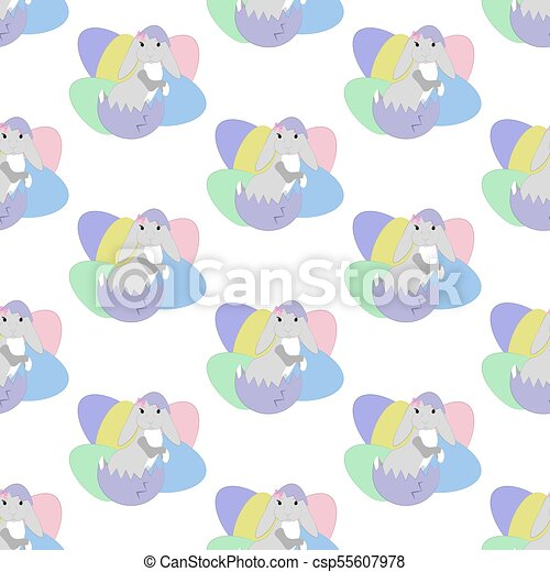 Easter bunny seamless pattern - csp55607978