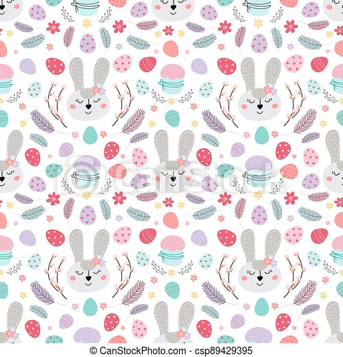 Easter bunny seamless pattern. Pattern with Easter rabbit, eggs, cake, feathers. Design for textiles, packaging, wrappers.Vector flat illustration - csp89429395