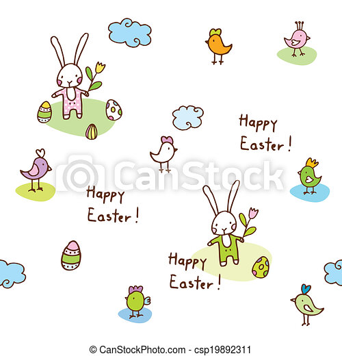 Easter bunny, seamless pattern - csp19892311