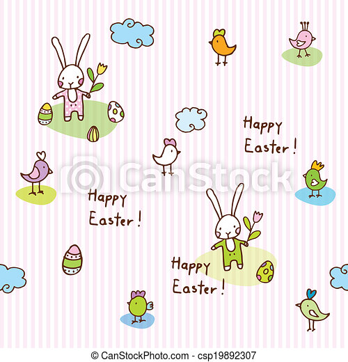Easter bunny, seamless pattern - csp19892307