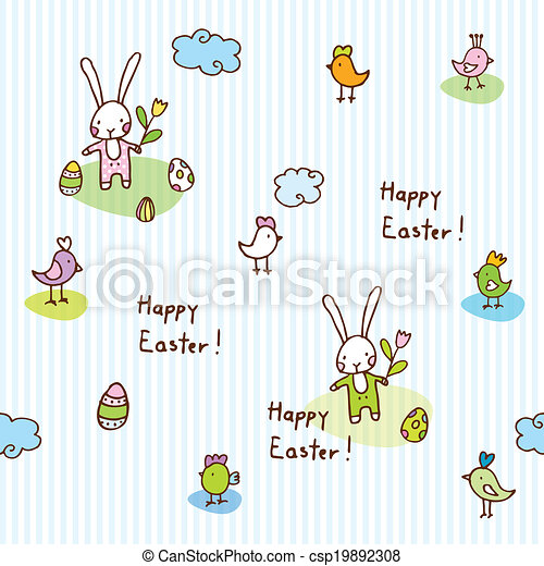 Easter bunny, seamless pattern - csp19892308