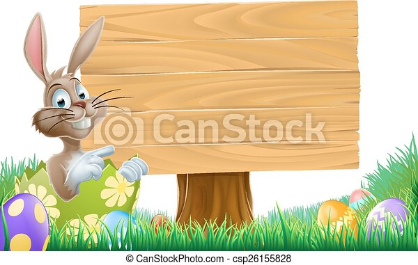 Easter Bunny Sign - csp26155828