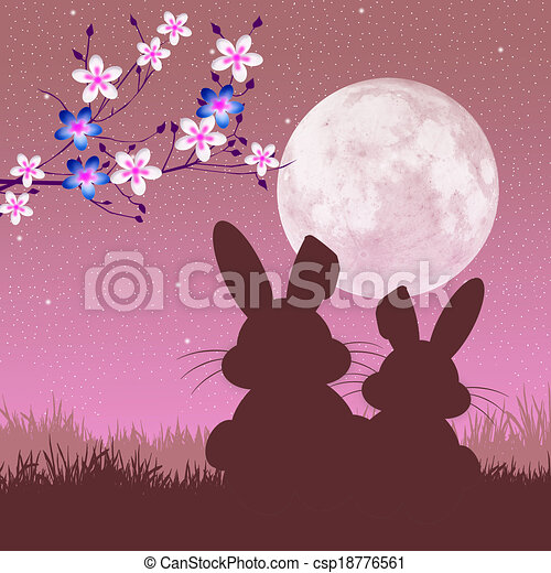 Easter bunny silhouette - csp18776561