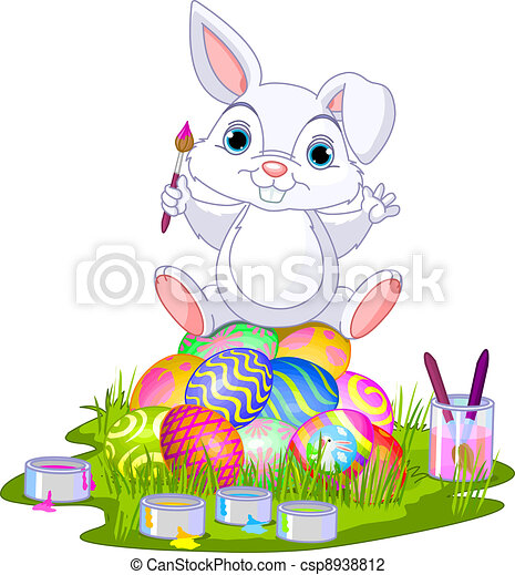 Easter. Bunny sitting on eggs - csp8938812