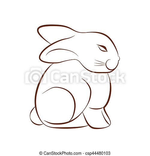 Easter Bunny Sketch Hare Or Rabbit On White Background