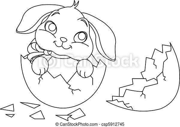 Easter Bunny Surprise Easter Bunny Sitting In The Broken Easter Egg