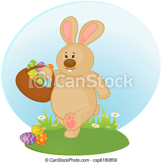 Easter Bunny with colored egg. - csp6180859