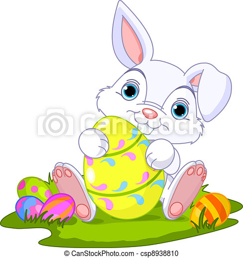 Easter. Bunny with Easter Egg - csp8938810