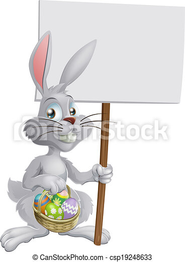 Easter bunny with eggs and sign - csp19248633