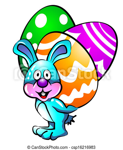Easter bunny with eggs - csp16216983