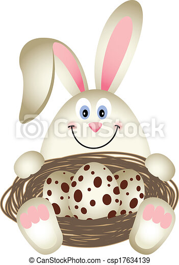 Easter Bunny with Quail Eggs - csp17634139