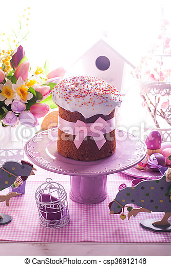 Easter cake with bow - csp36912148