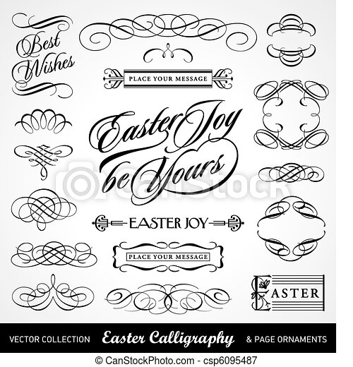 easter calligraphy set (vector) - csp6095487