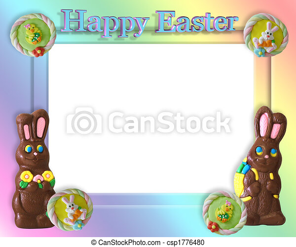 Easter candy frame border. Chocolate bunnies, candies for easter ...