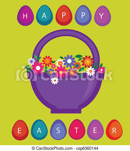 easter card template basket with colored eggs and flowers
