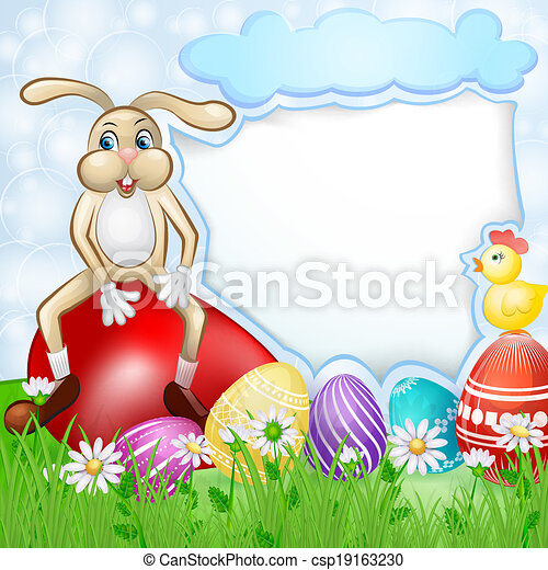 Easter card with bunny and chicken - csp19163230