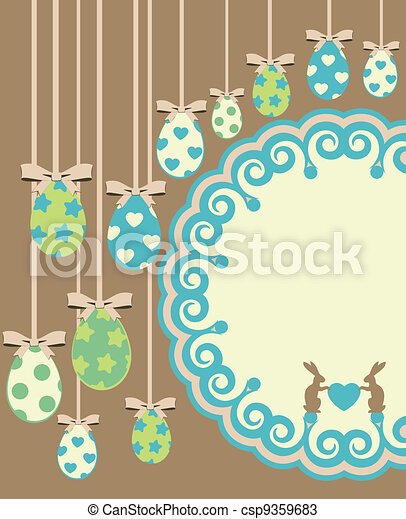 easter card with bunny and eggs - csp9359683