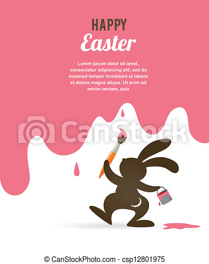 Easter card with bunny - csp12801975