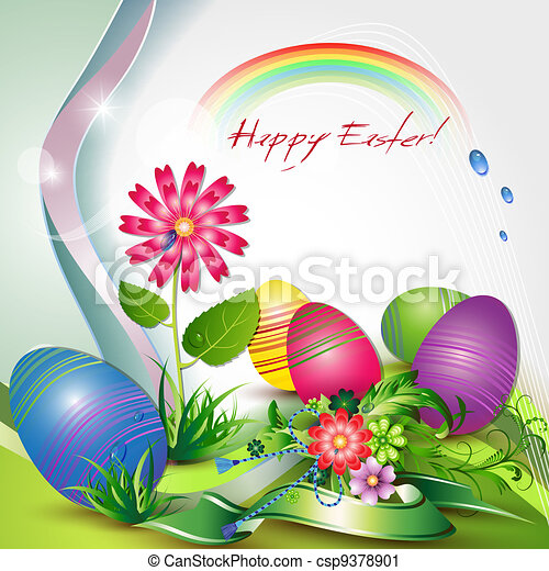 Easter card with colored eggs  - csp9378901