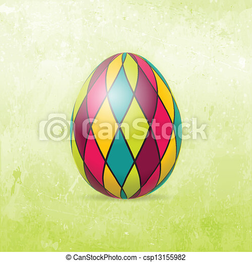 Easter Card with colorful Easter egg - csp13155982