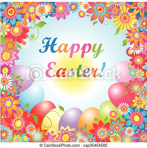 Easter card with colorful flowers - csp35454582