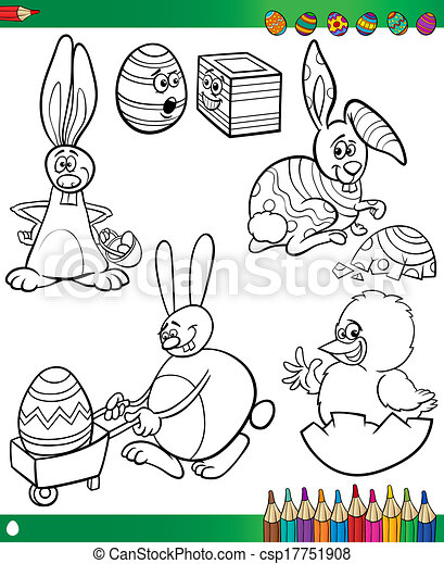 Easter cartoons for coloring book. Easter themes collection set of ...
