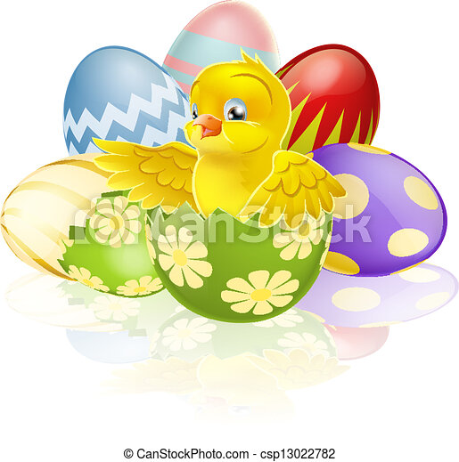 Easter chick in egg - csp13022782