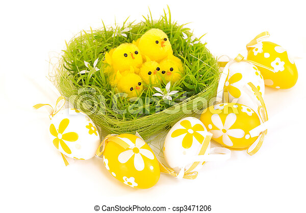 easter chick - painted Easter eggs isolated for easter design - csp3471206