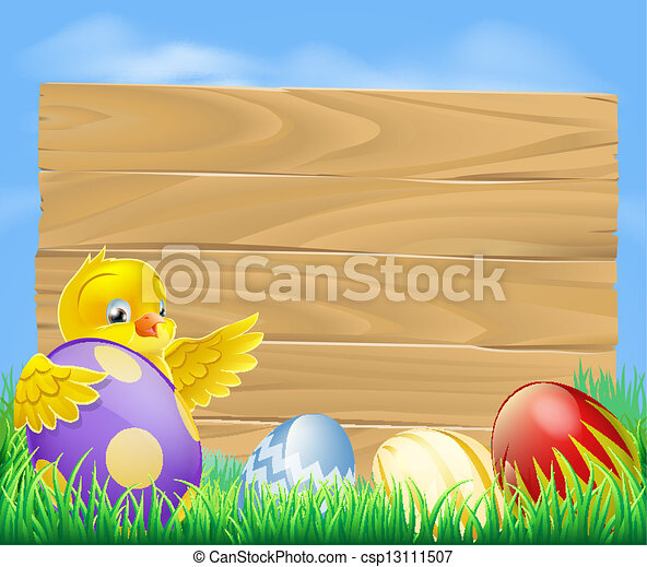 Easter chicken and chocolate painte - csp13111507