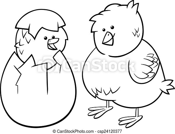 Easter chicks cartoon coloring page. Black and white cartoon ...